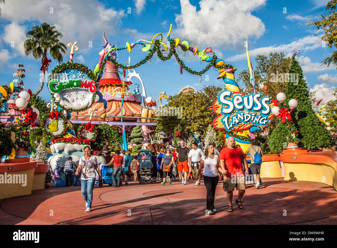 Park guests at entrance to Seuss Landing at Universal Studios Islands of Adventure in Orlando, Florida - Stock Image