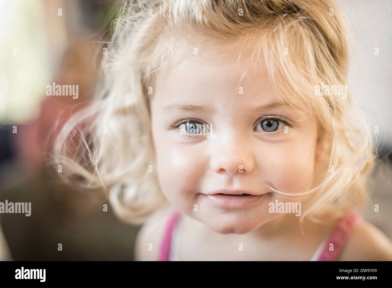 Close up of baby girl's face - Stock Image
