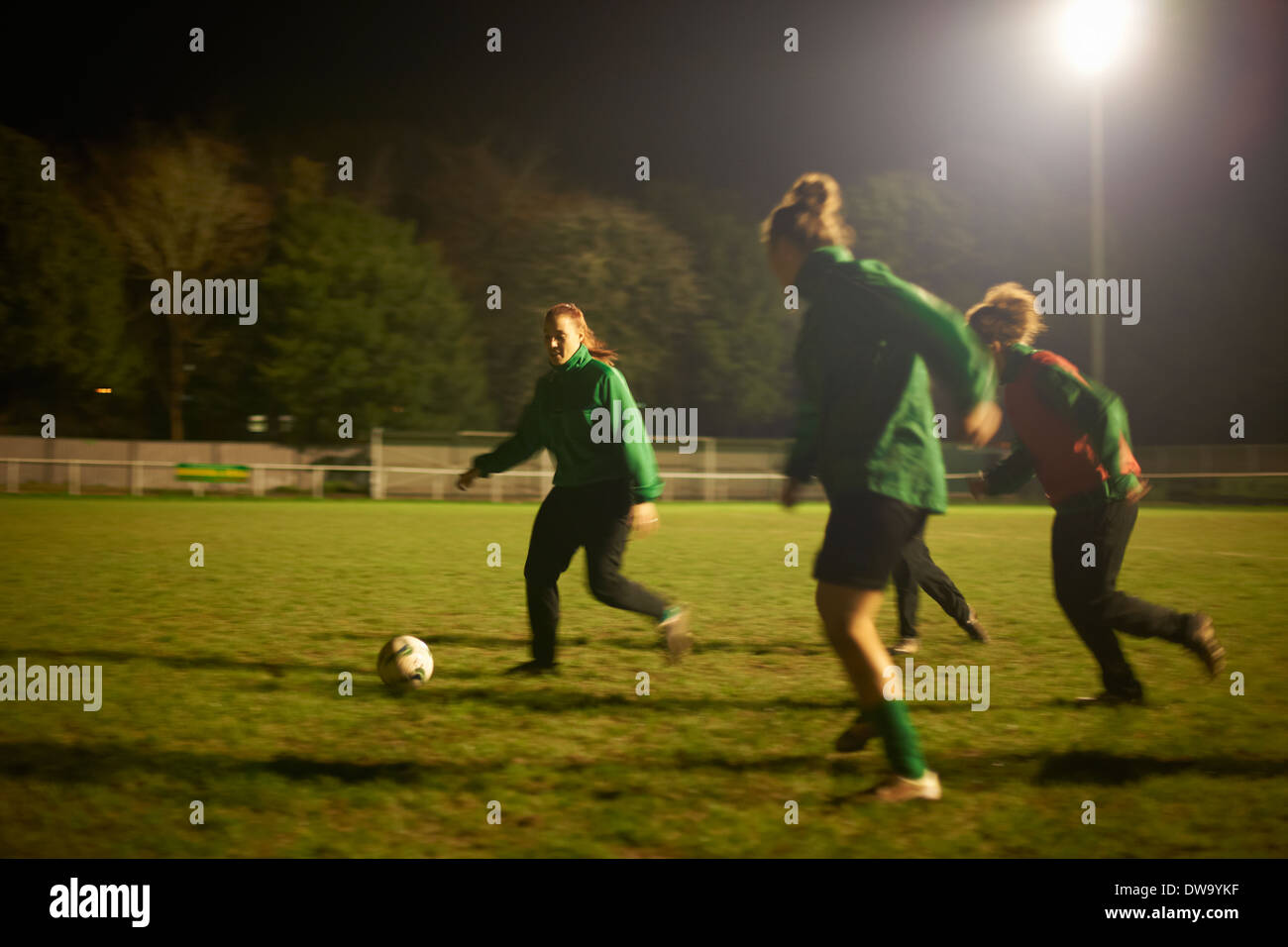 Female soccer players at practice - Stock Image