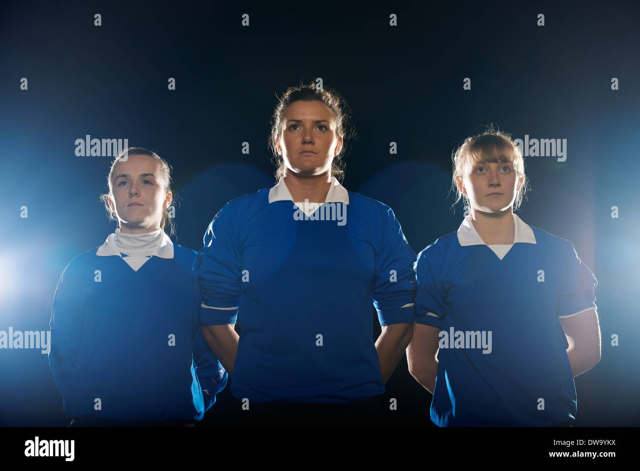 Portrait of female soccer players - Stock Image