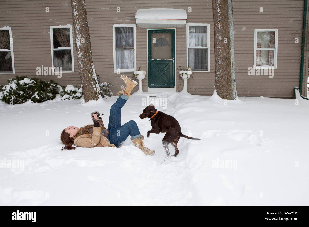 Mid adult woman lying in snow outside house playing with dog - Stock Image
