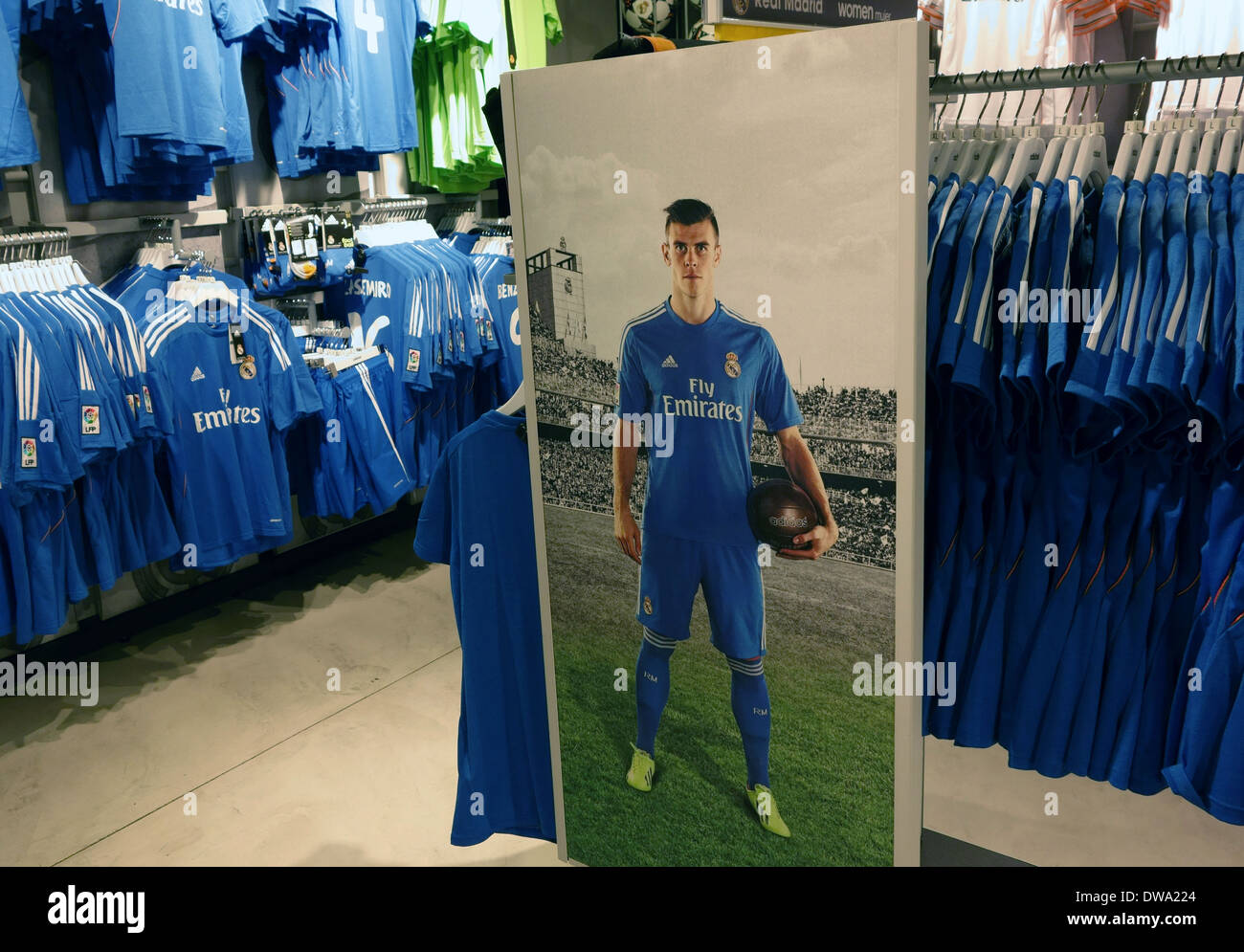 a033559b4 Poster of Gareth Bale in Real Madrid official shop in Bernabeu Stadium