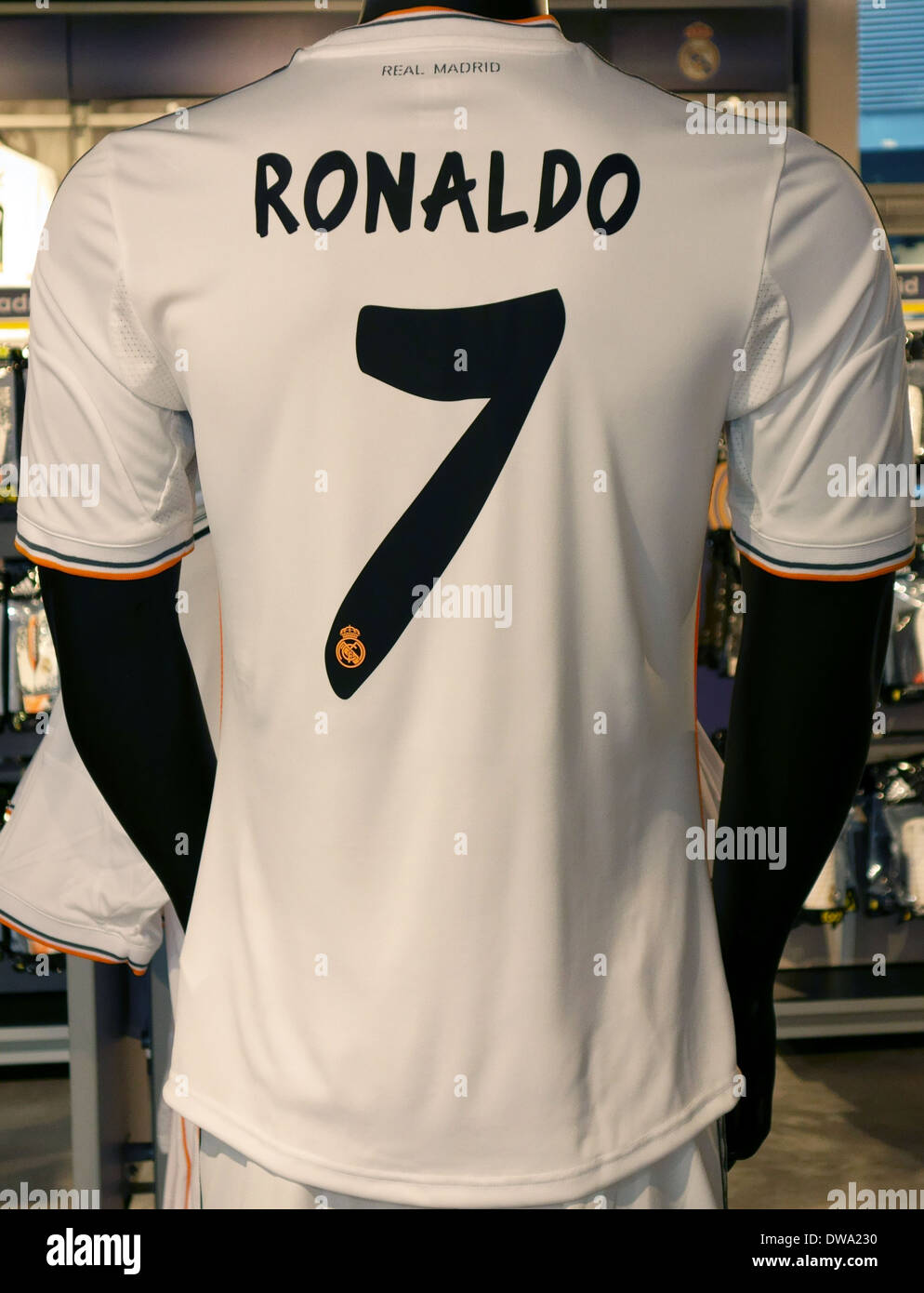7be4c8cf714 Ronaldo shirt in Real Madrid official shop in Bernabeu Stadium ...