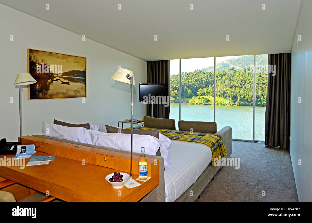luxury bedroom with beautiful view on Douro river Portugal - Stock Image