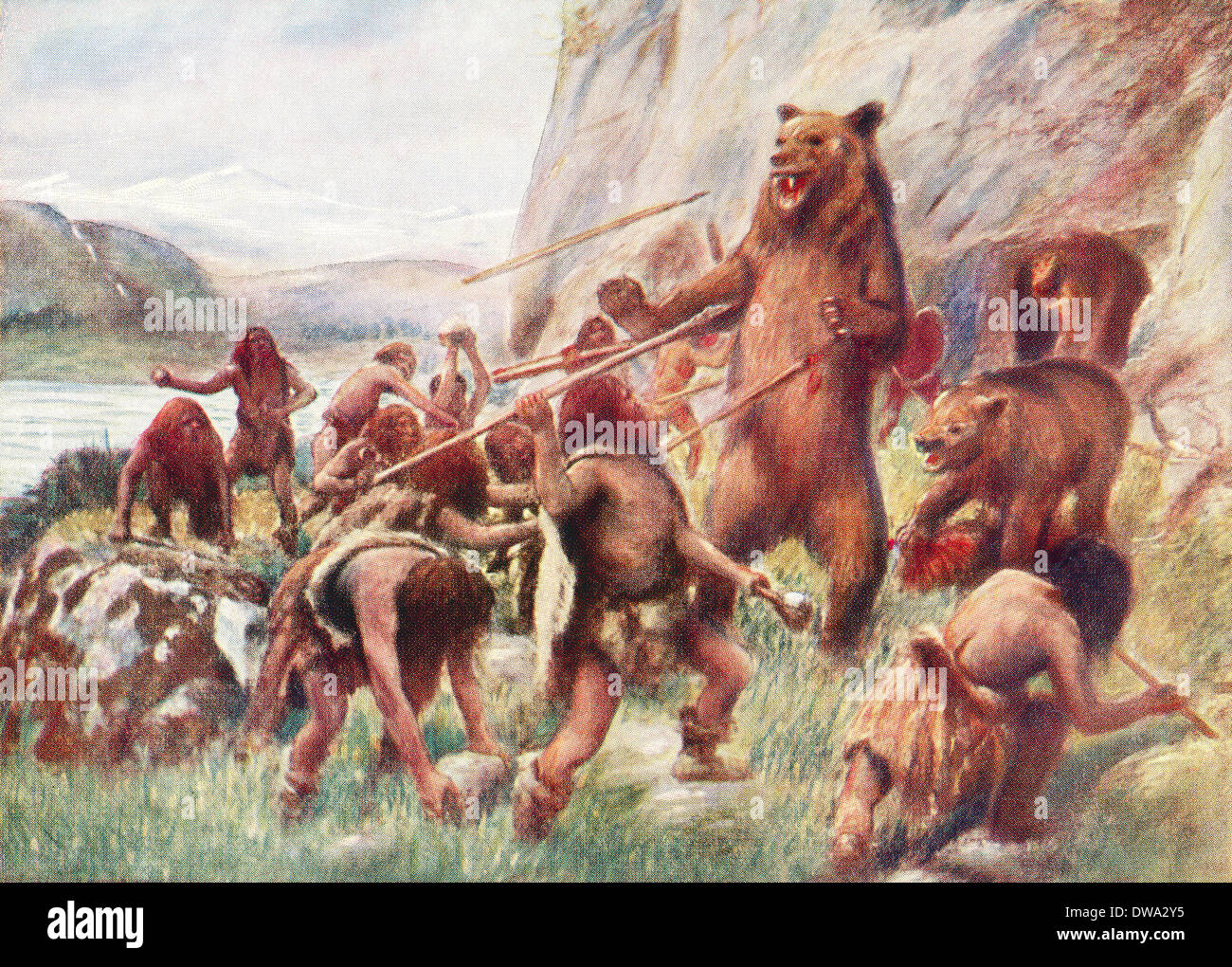 Stone age man hunting wild bears. - Stock Image