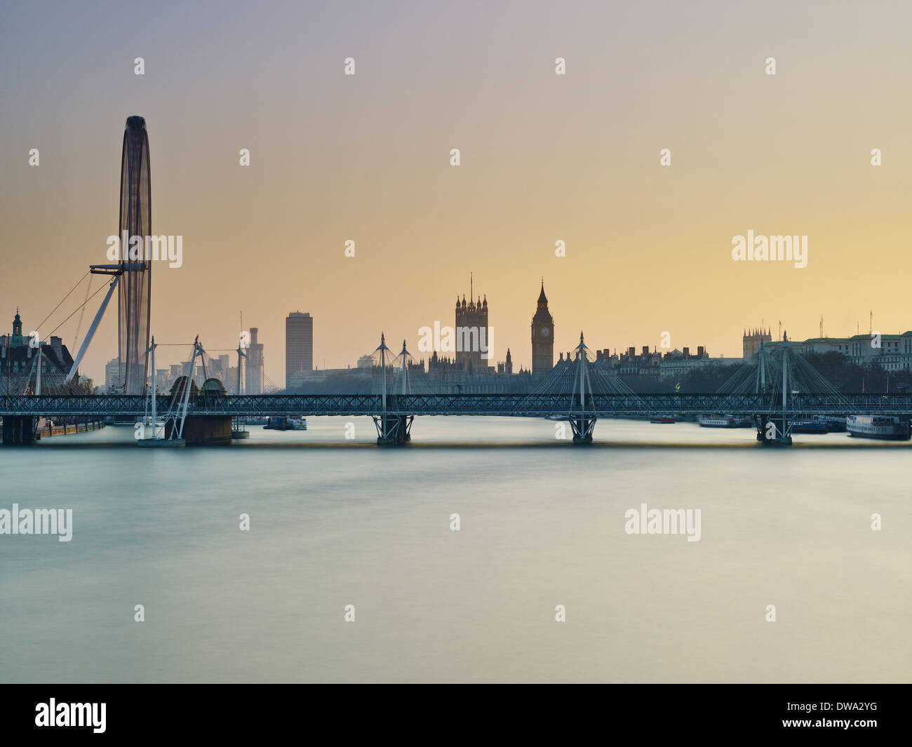 London skyline, River Thames - Stock Image