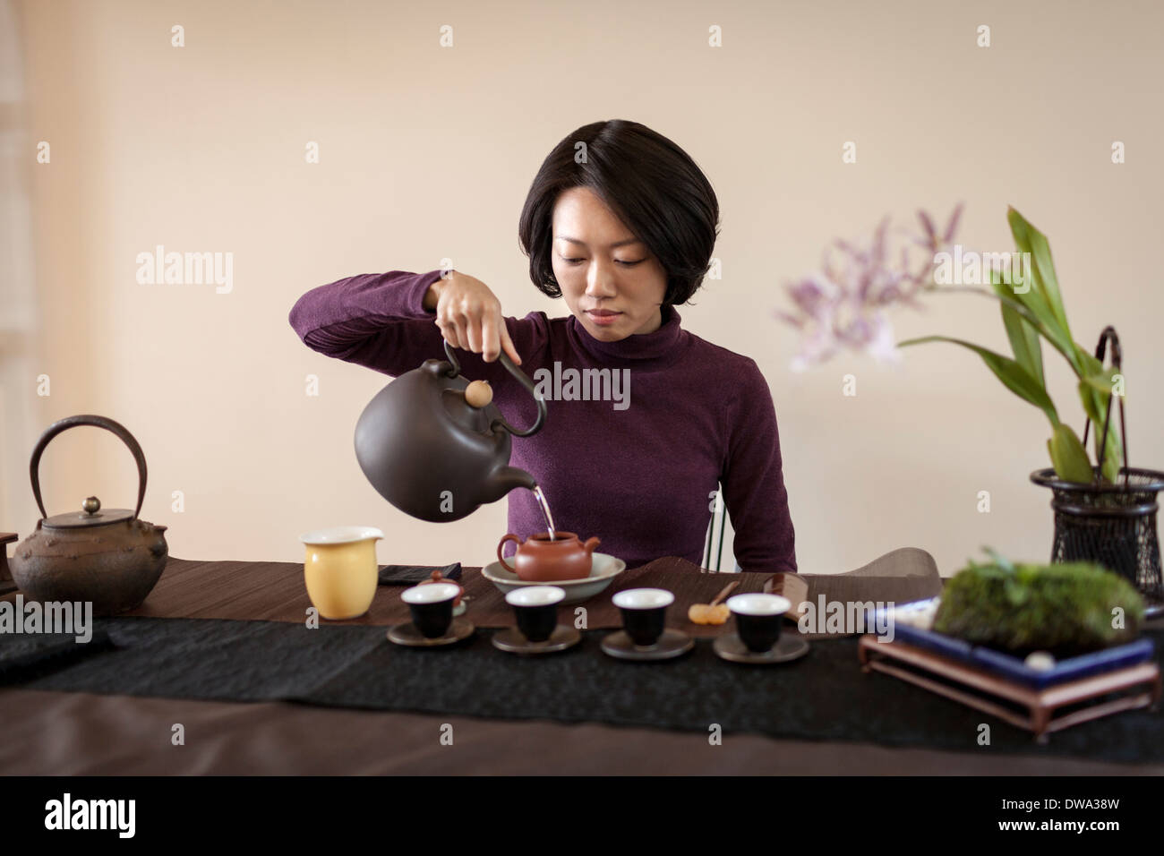 Mid adult woman performing traditional Chinese tea ceremony - Stock Image