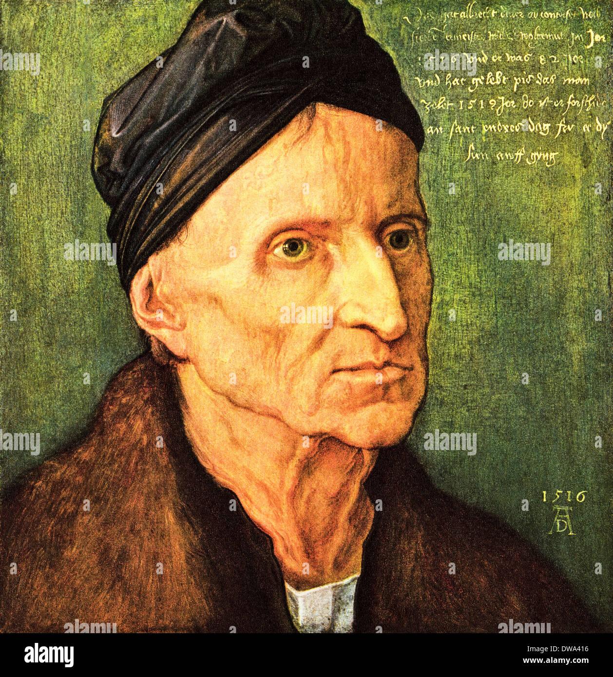 Portrait of Michael Wolgemut oil on wood by Albrecht Durer circa 1516 German artist 1471 - 1528 - Stock Image