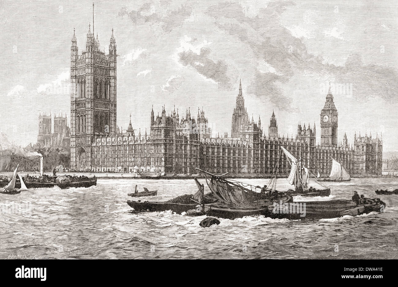 The Houses Of Parliament City Westminster London England In 19th Century