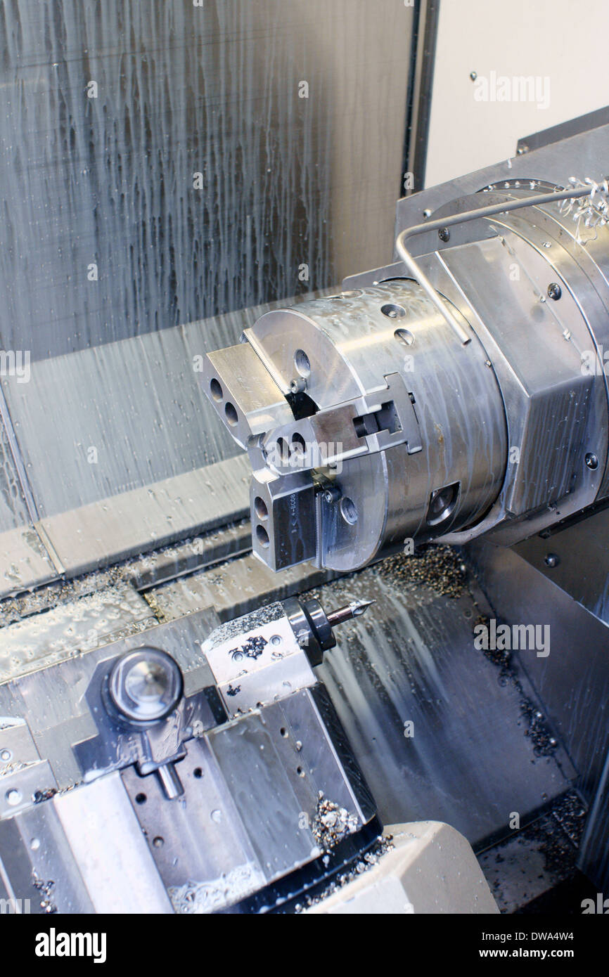 CNC Milling Machine chuck assembly used for machining metal components - Stock Image