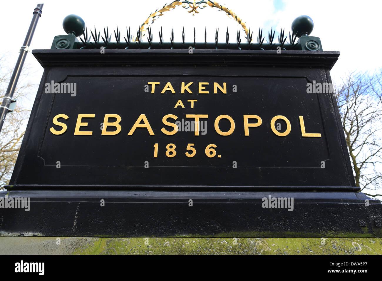 Sebastopol memorial in Cheltenham - Taken at Sebastopol 1856 - Stock Image