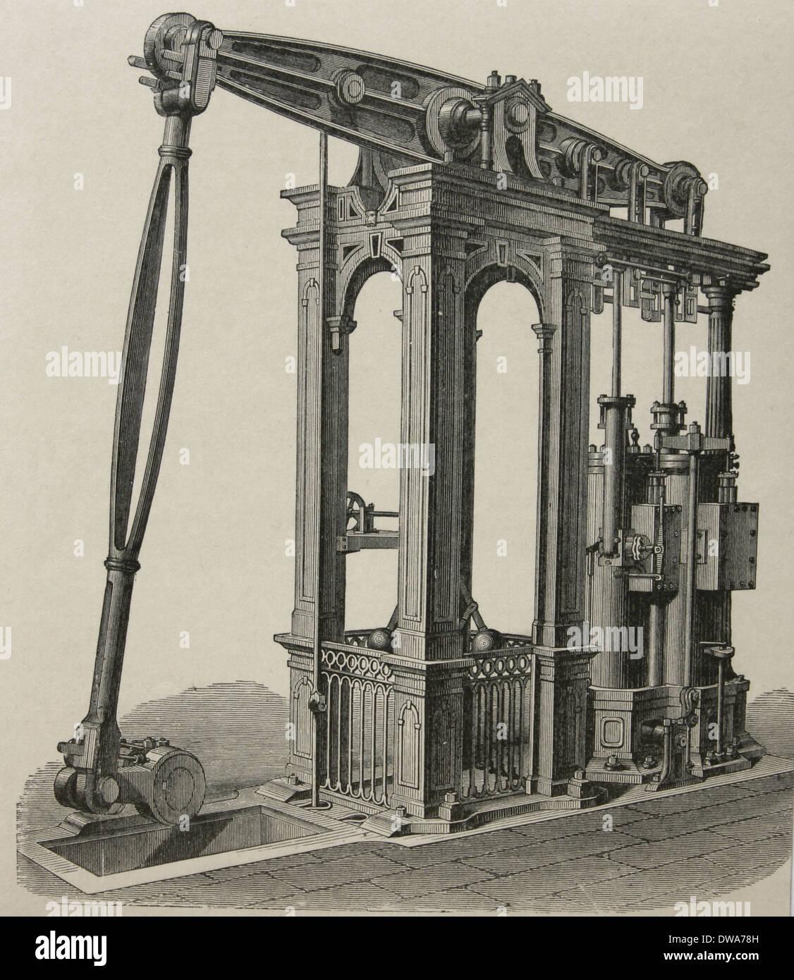Steam engine by Cornish engineer Arthur Woolf (1766-1837). Engraving, 19th century. - Stock Image