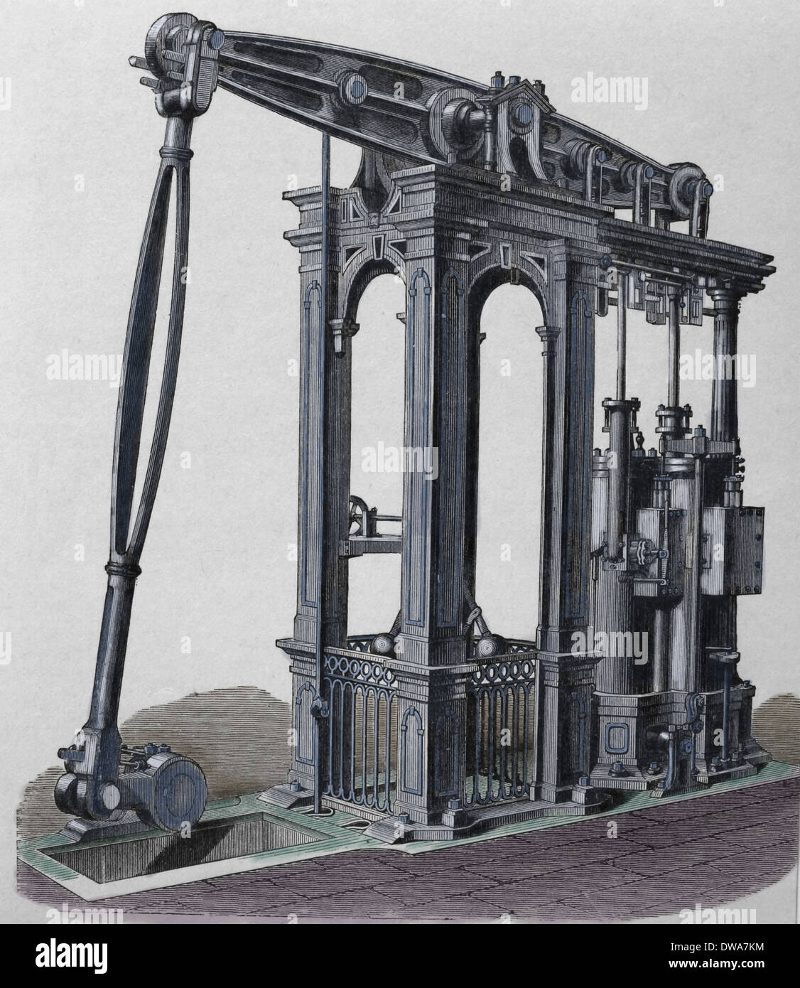 Steam engine by Cornish engineer Arthur Woolf (1766-1837). Engraving, 19th century. (Later colouration). - Stock Image