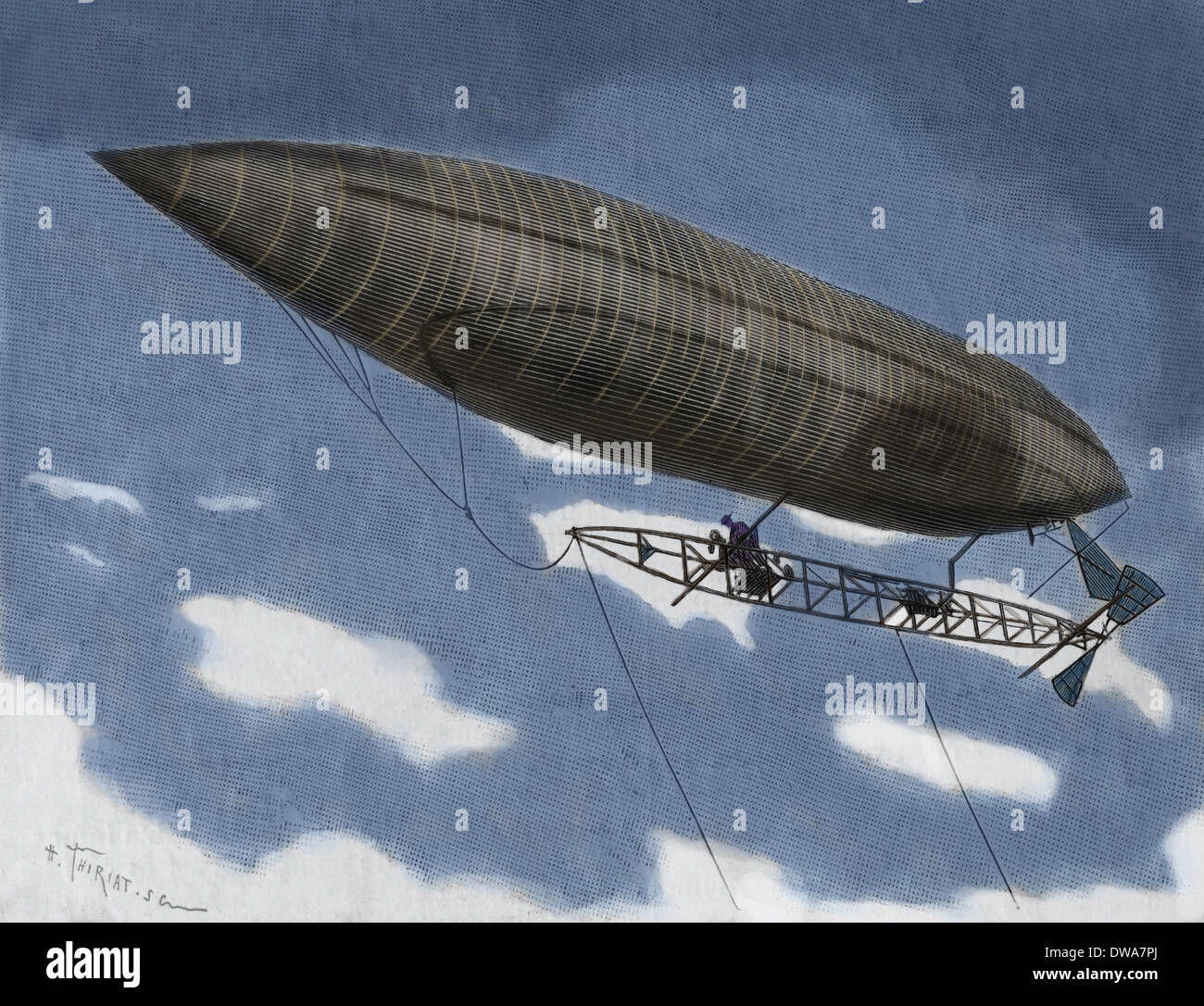 Alberto Santos-Dumont (1873-1932). Brazilian aviation pioneer. Flying dirigible. Engraving. Later colouration - Stock Image
