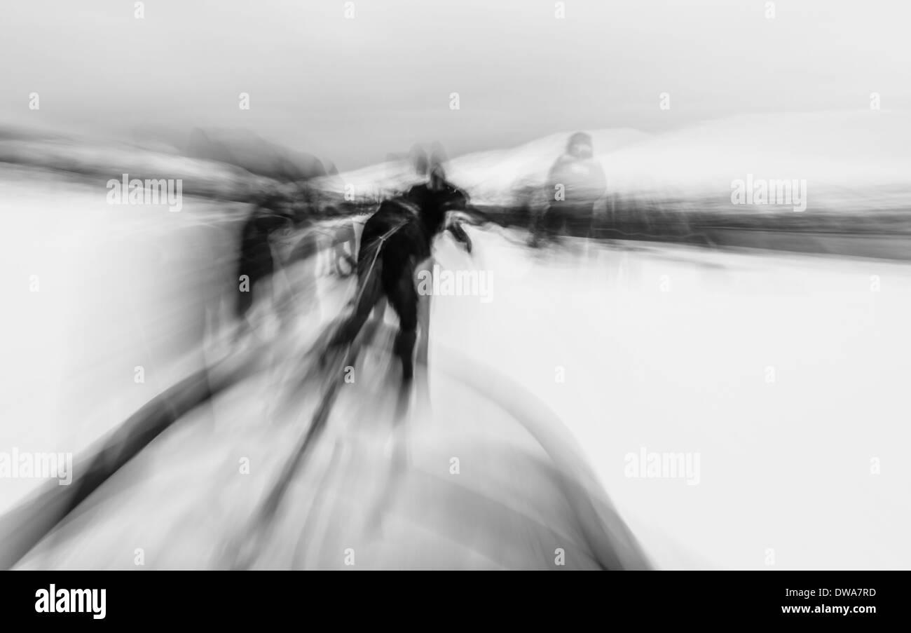 Motion blur dog sledding, Tromso, Norway - Stock Image