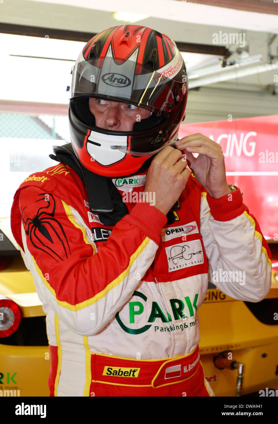 Portrait of polish racing driver Stanislaw Broniszewski during GT Open race on Hungaroring in September 2012 - Stock Image