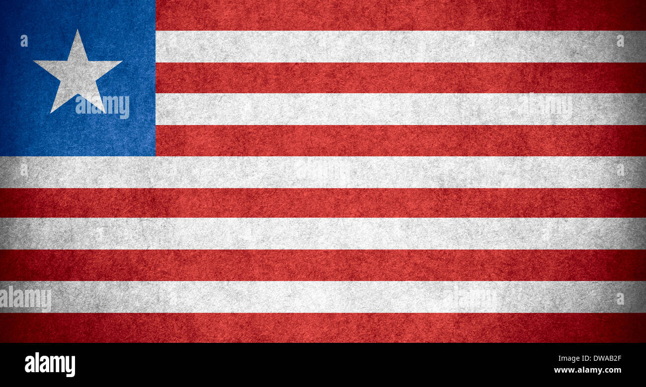 flag of Liberia or Liberian banner on paper rough pattern texture - Stock Image