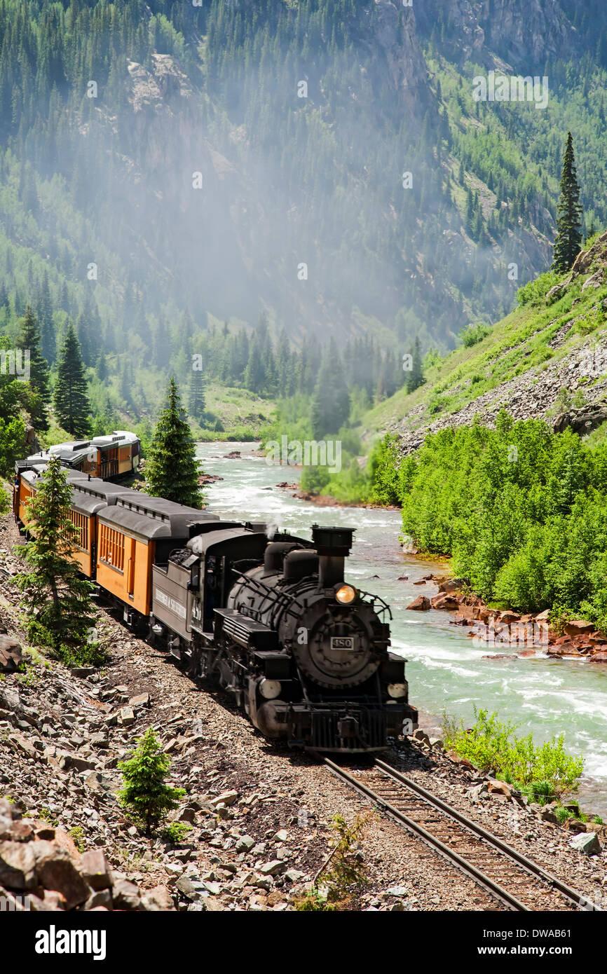 Durango & Silverton Narrow Gauge Railroad and Animas River, Colorado USA - Stock Image