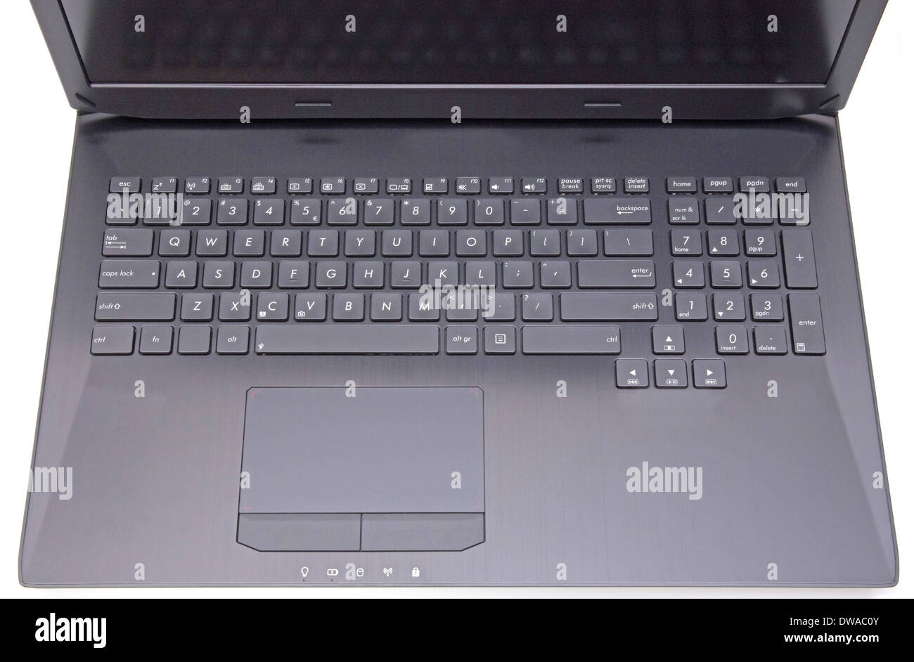 Close image of a laptop: keyboard and touchpad - Stock Image