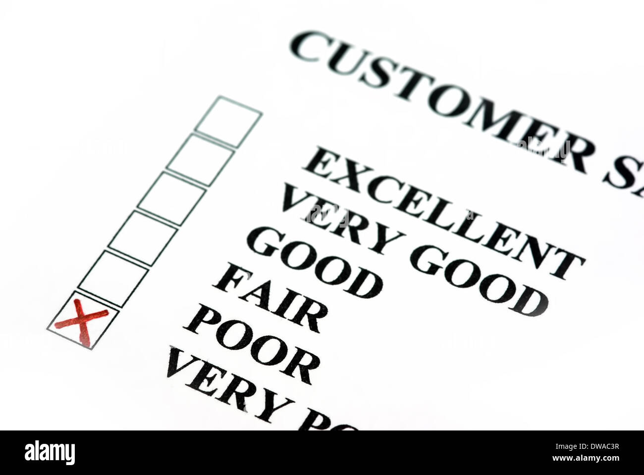 Customer survey with bad results. - Stock Image