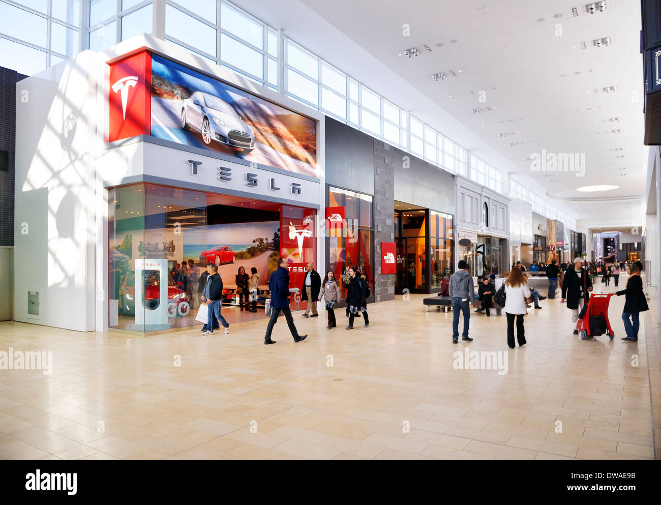 Tesla Motors retail store at Yorkdale Shopping Centre, Toronto, Ontario, Canada 2014 Stock Photo