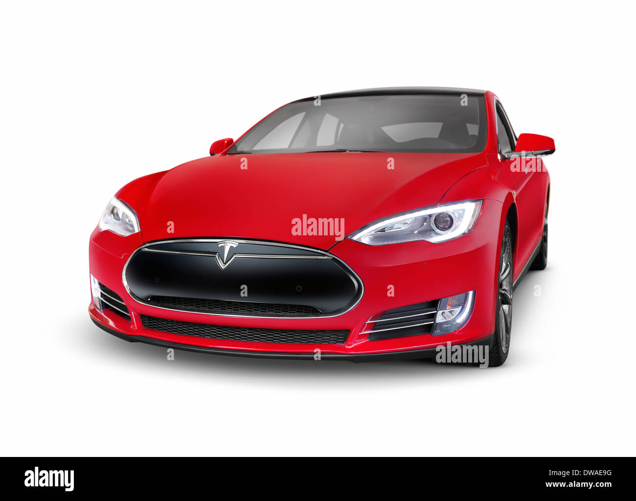 Red 2014 Tesla Model S luxury electric car premium sedan isolated on white background with clipping path - Stock Image