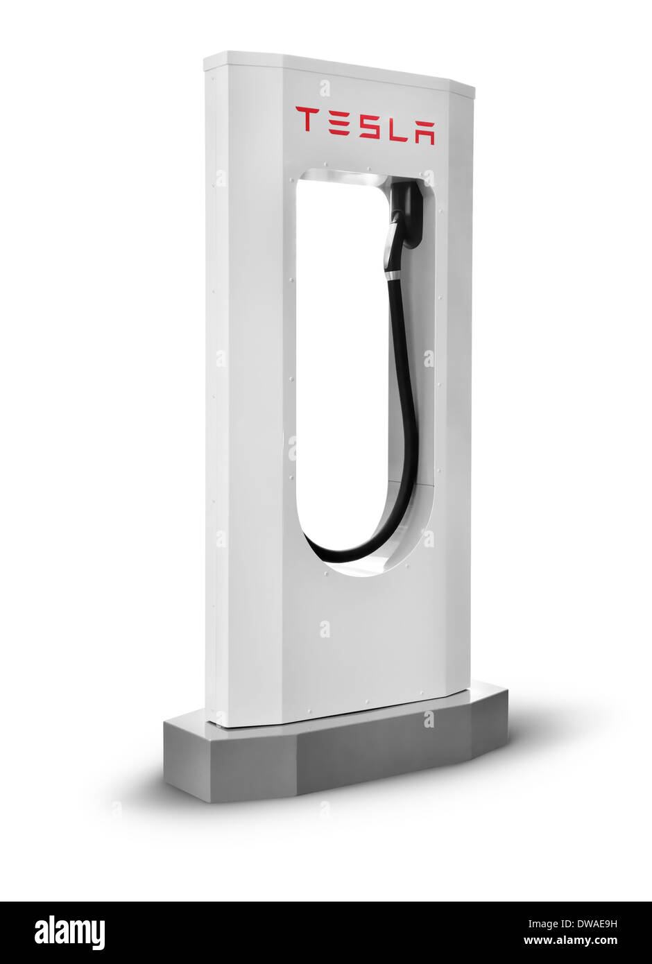 Tesla supercharger charging station isolated on white background with clipping path - Stock Image