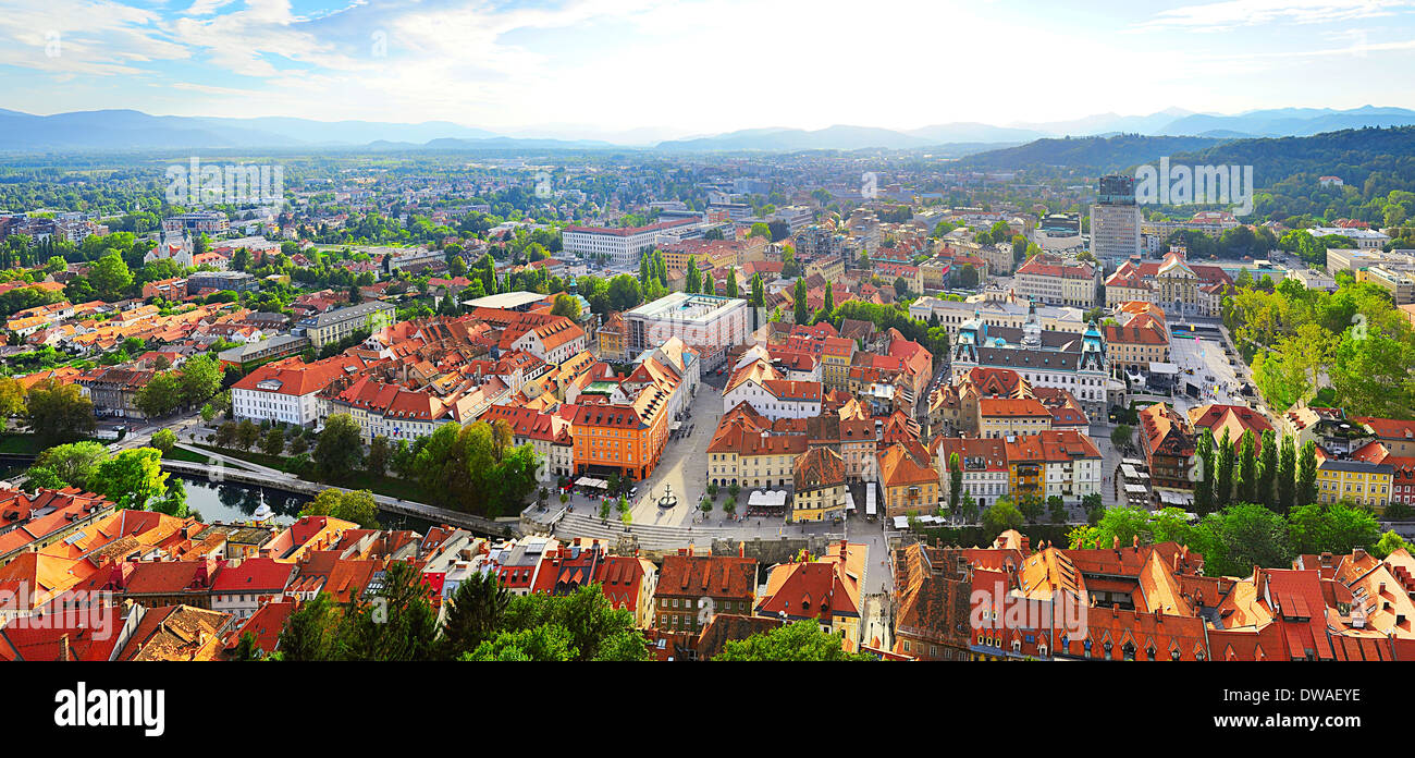 Panoramic aerial view of Ljubljana city . Slovenia - Stock Image