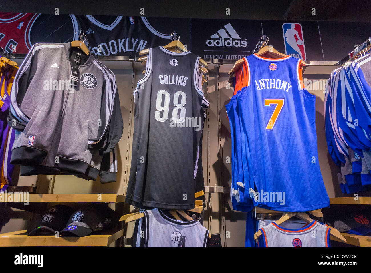 d4fc09dd6da Jason Collins' number 98 Brooklyn Nets basketball jersey is seen amongst  other players' uniforms at the NBA store in New York