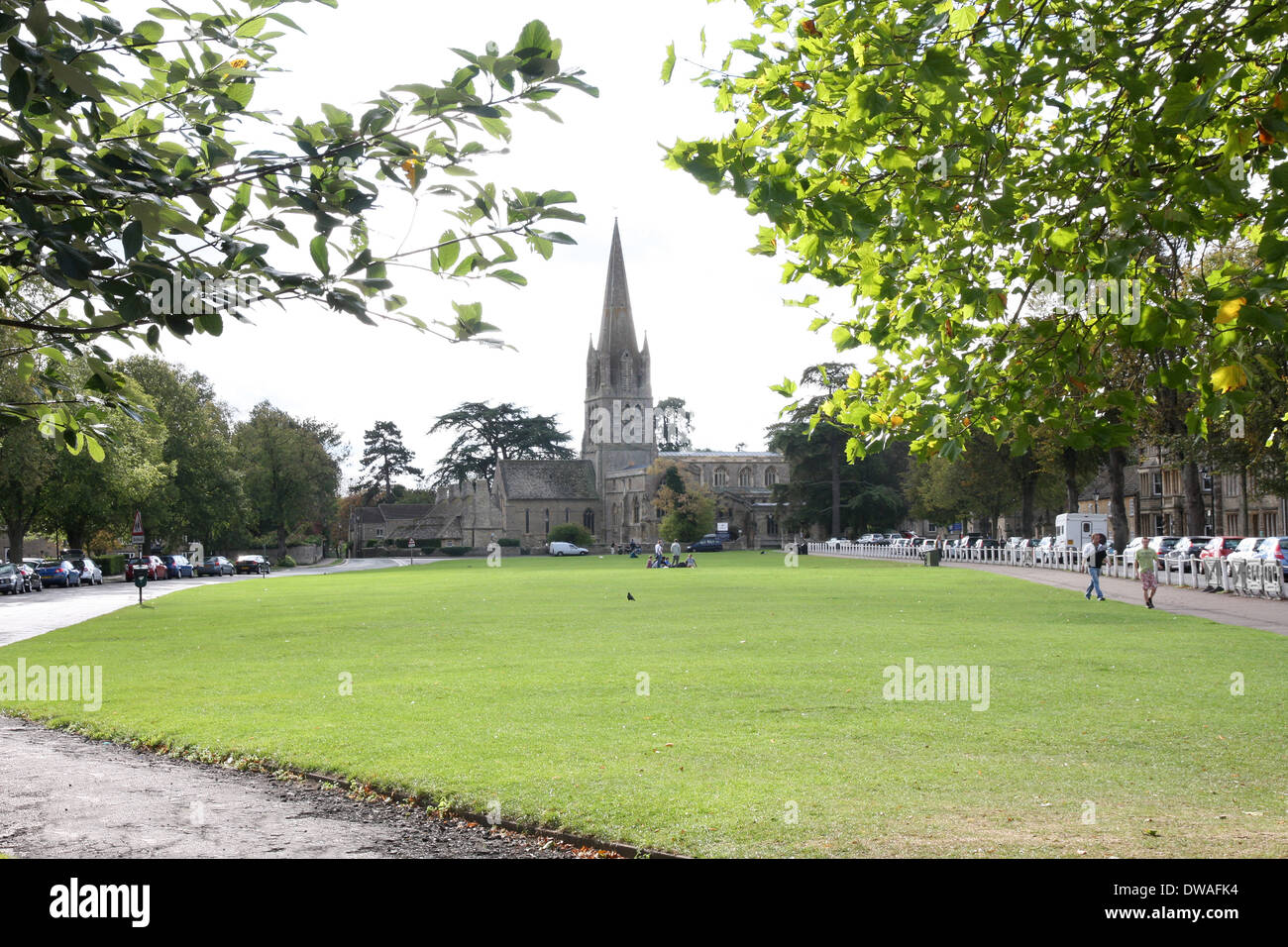 Church green and St Mary's Church Witney Oxfordshire UK - Stock Image