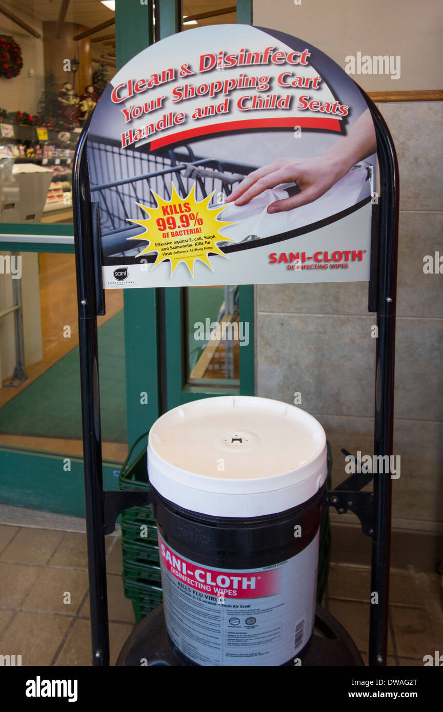 shopping cart handle disinfectant - Stock Image