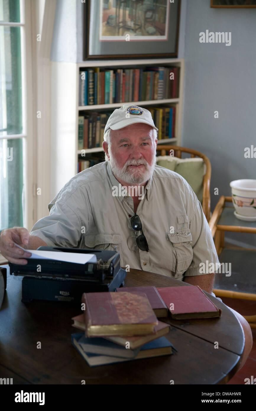 """Hemingway Look-Alike Contest"" winner at Ernest Hemingway Home & Museum, Key West, Florida, USA Stock Photo"