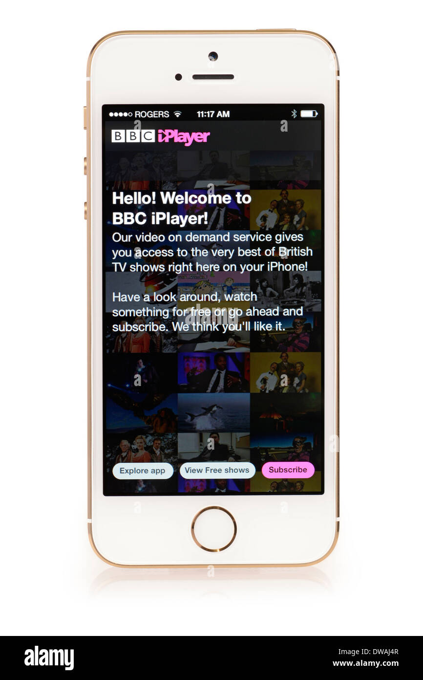 BBC iPlayer Welcome Screen, App running on iPhone 5S, iPhone 5 S - Stock Image