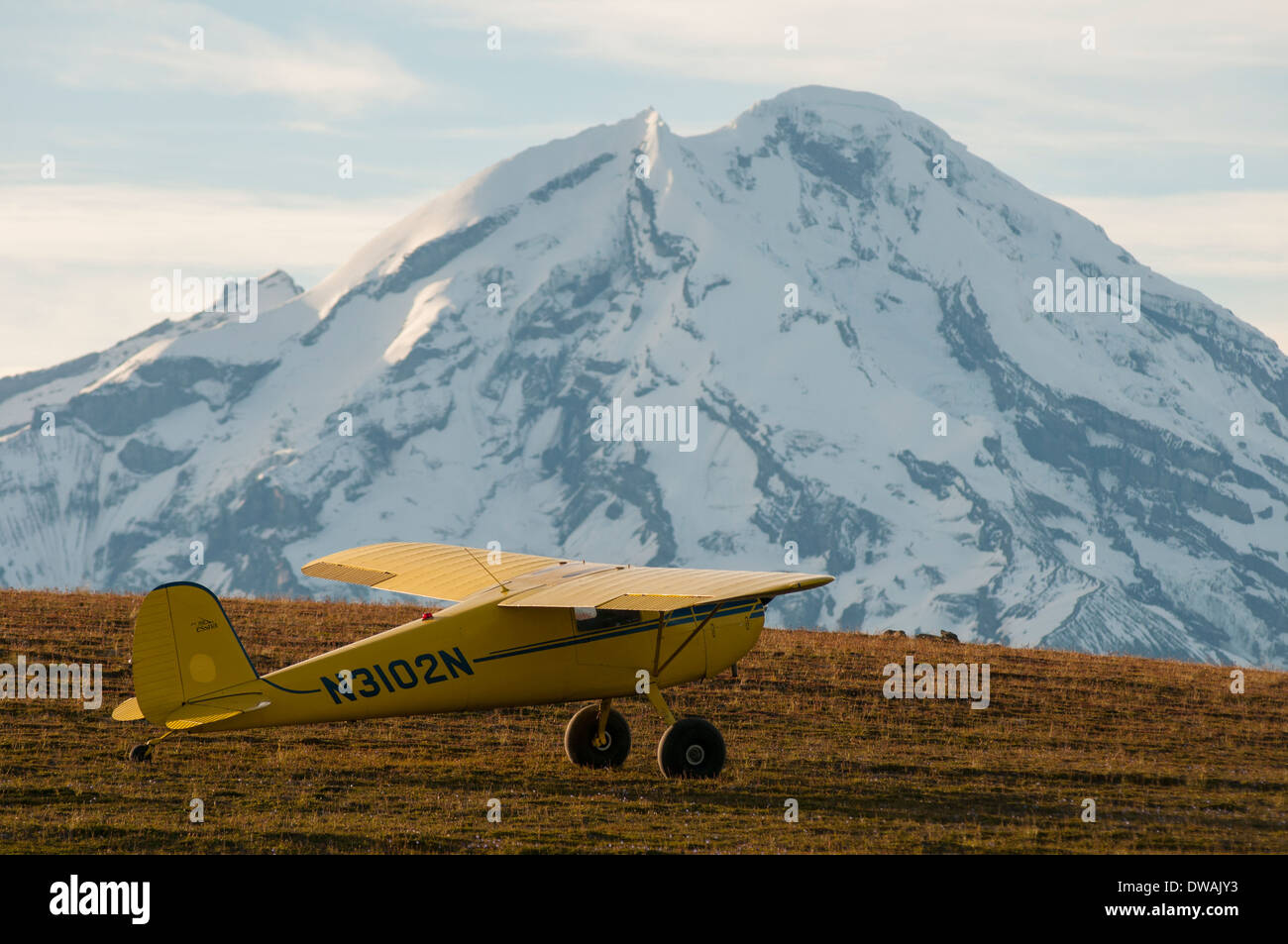Yellow Cessna 120 single engine bush plane on the tundra in the mountains, in front of Mount Redoubt Volcano, Alaska - Stock Image