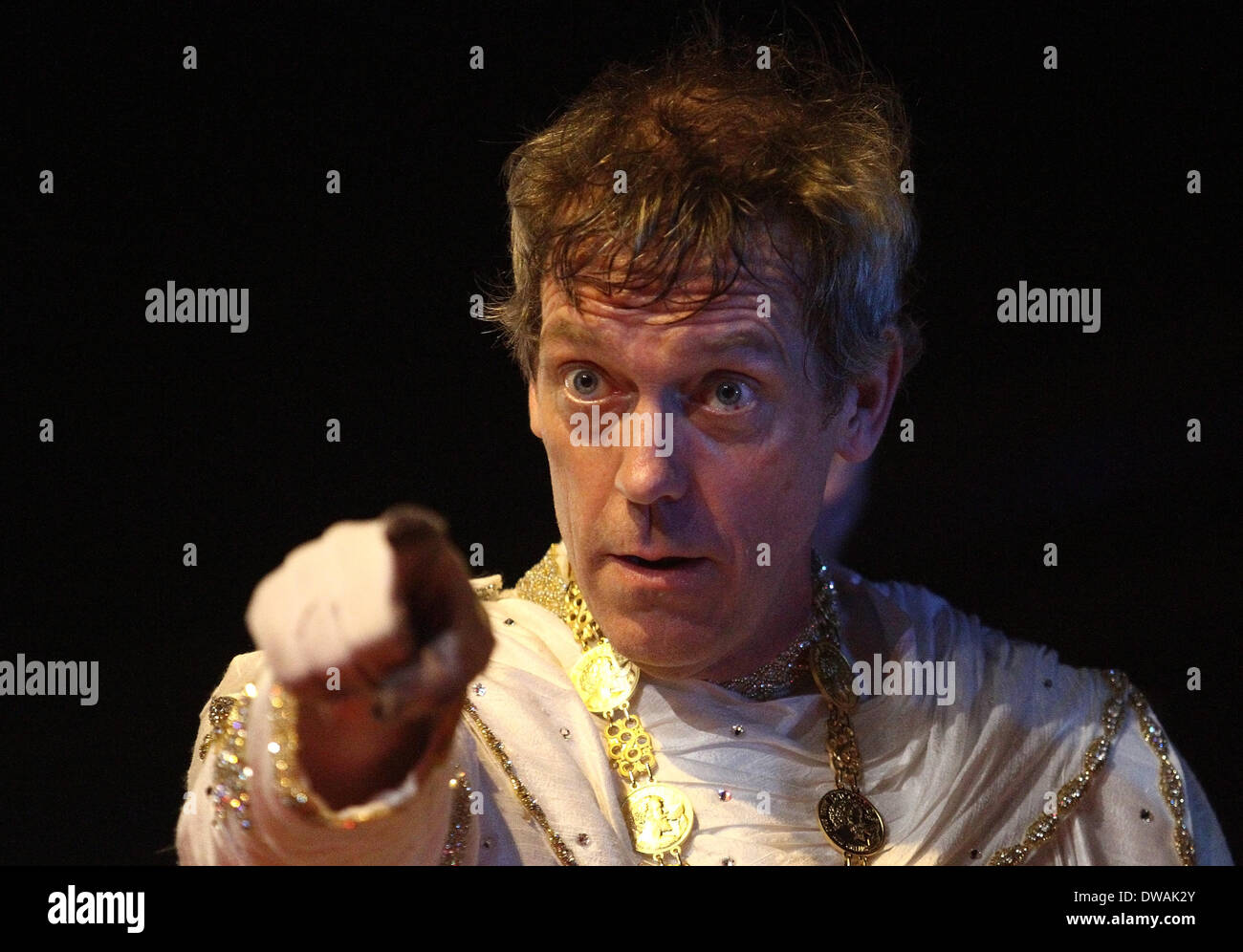 New Orleans, LOUISIANA, USA. 2nd Mar, 2014. Actor Hugh Laurie points out to the crowd as Bacchus 2014 during the Stock Photo