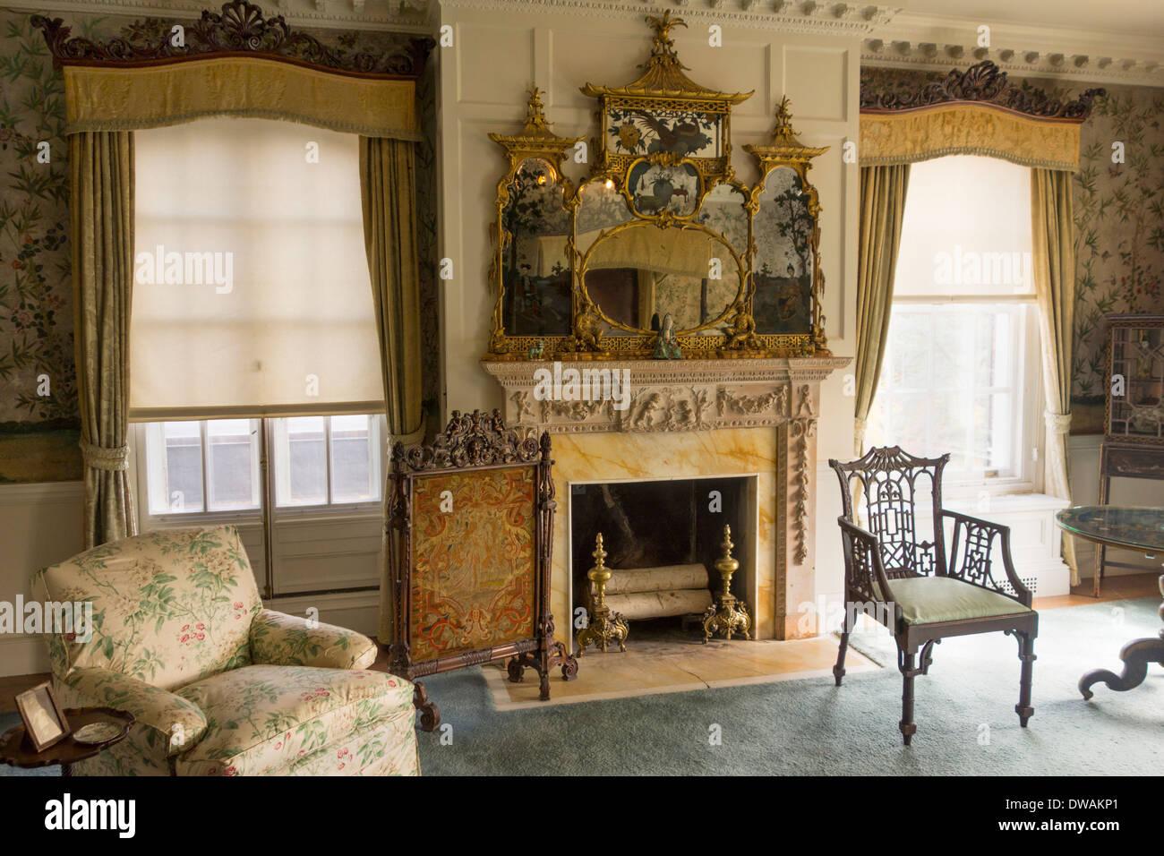 Old Westbury gardens house on Long Island NY - Stock Image