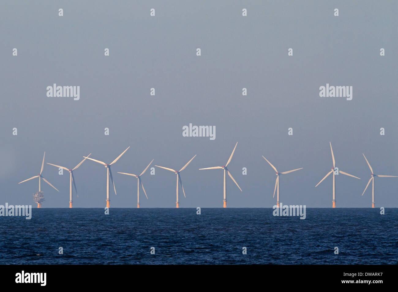 Off-shore wind turbines, Sheringham shoal, Norfolk UK - Stock Image