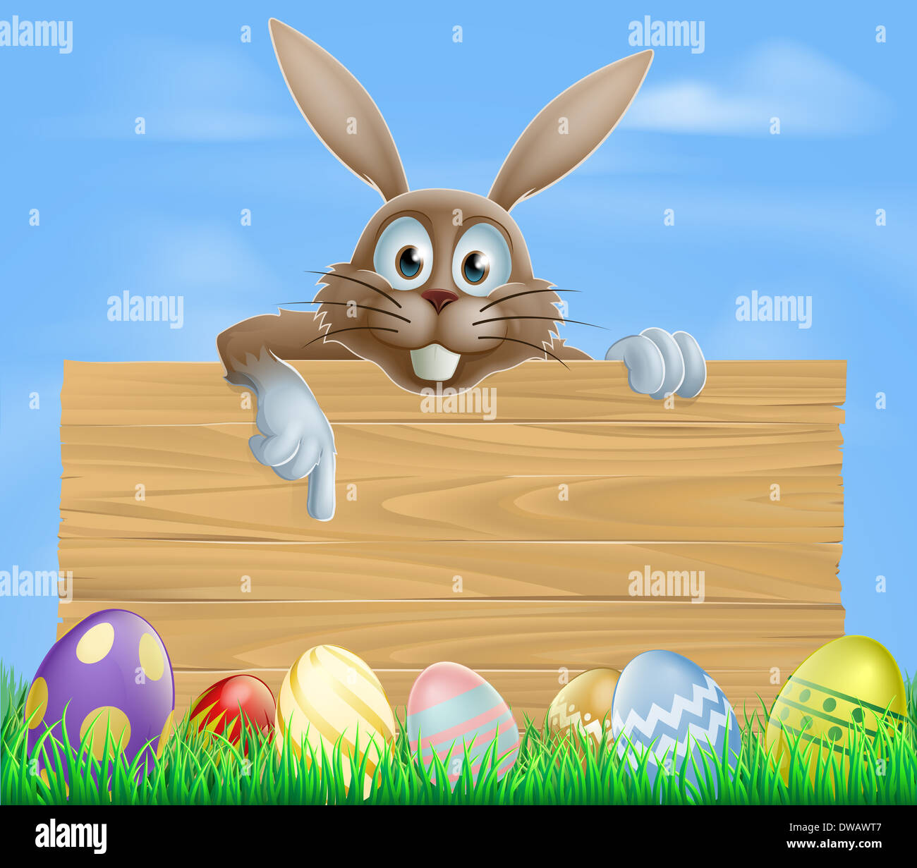 Wooden Sign Easter Bunny And Decorated Colourful Eggs Stock Photo Alamy
