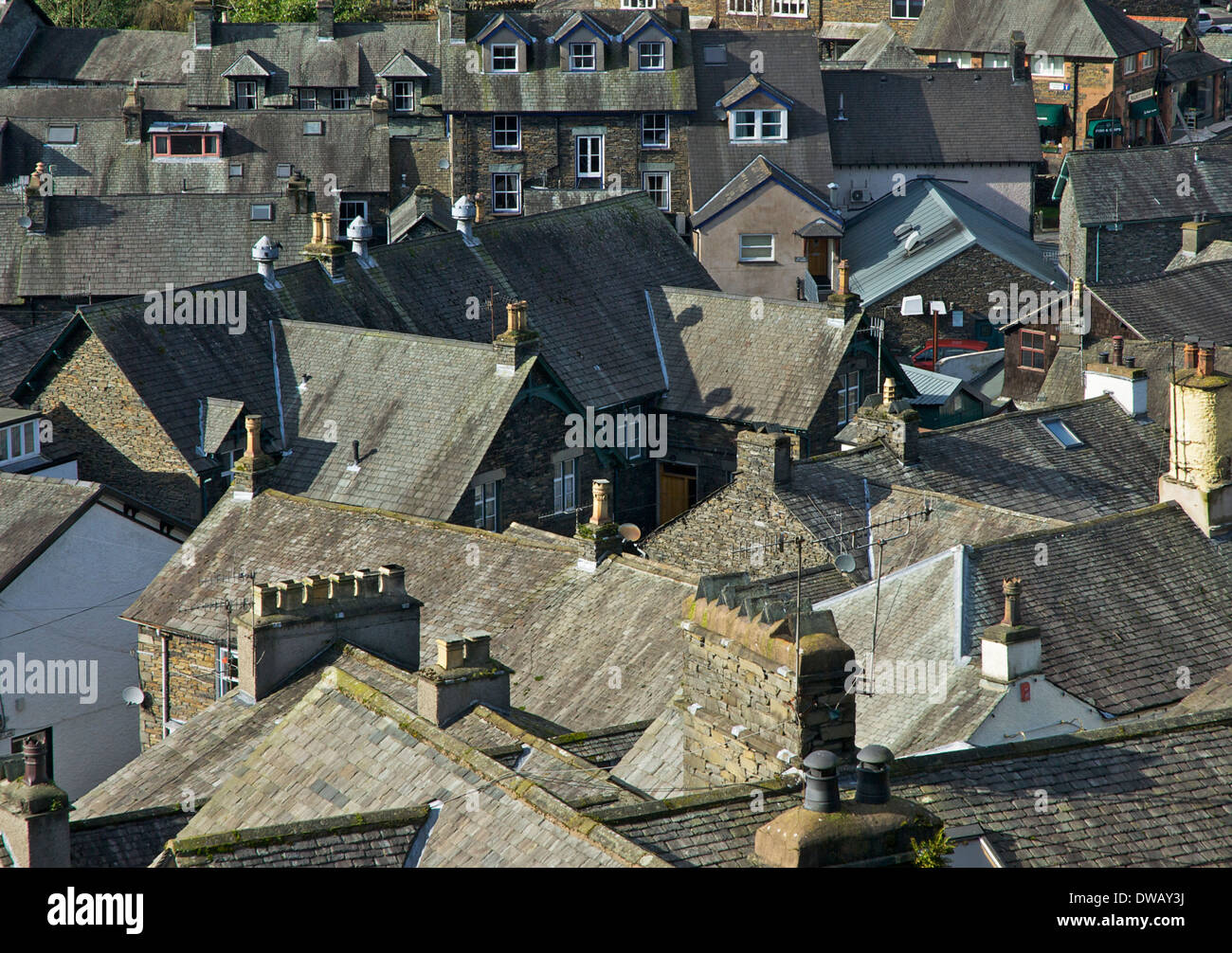 The rooftops of Ambleside, Lake District National Park, Cumbria, England UK - Stock Image
