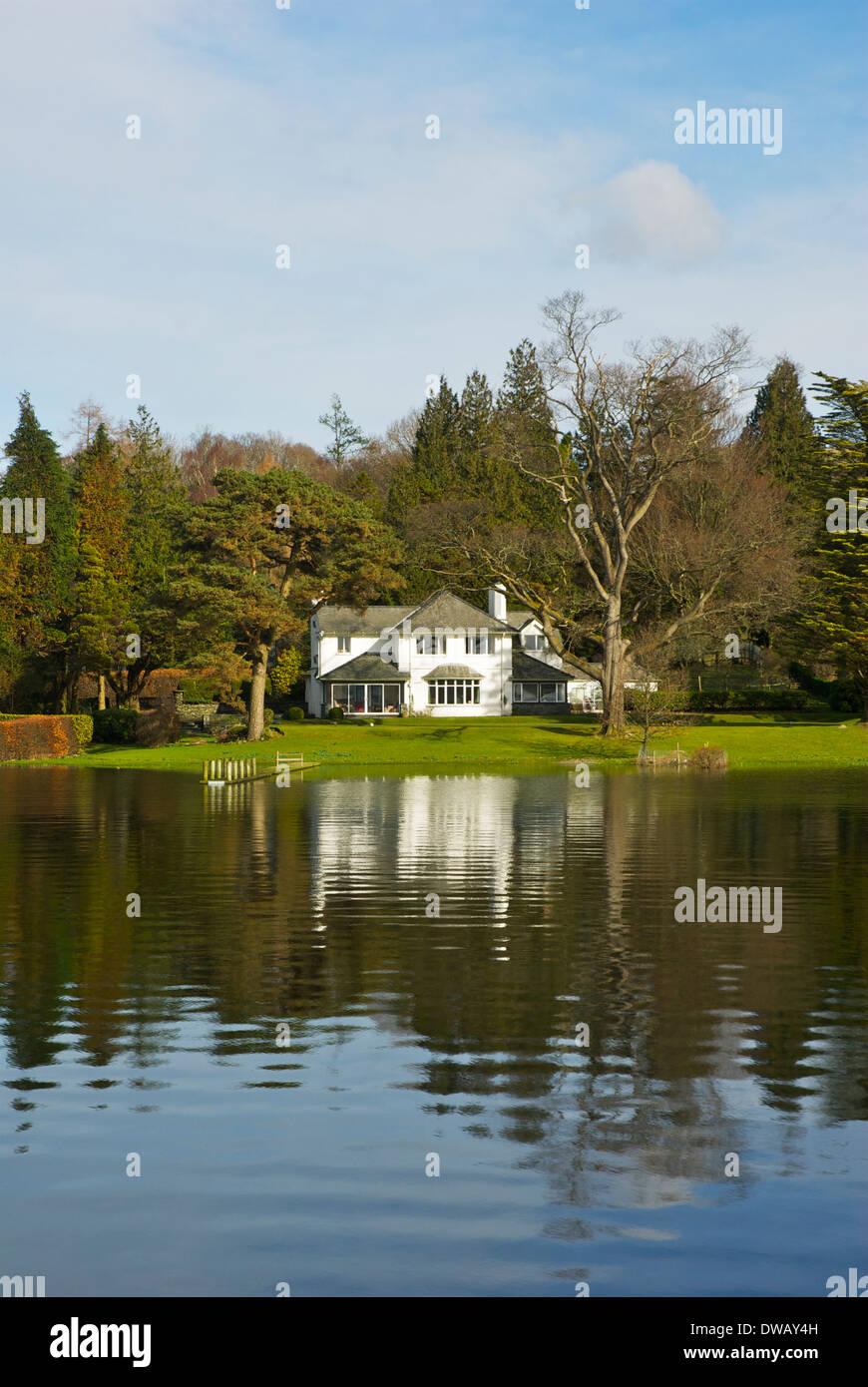 House overlooking Lake Windermere, Lake District National Park, Cumbria, England UK Stock Photo