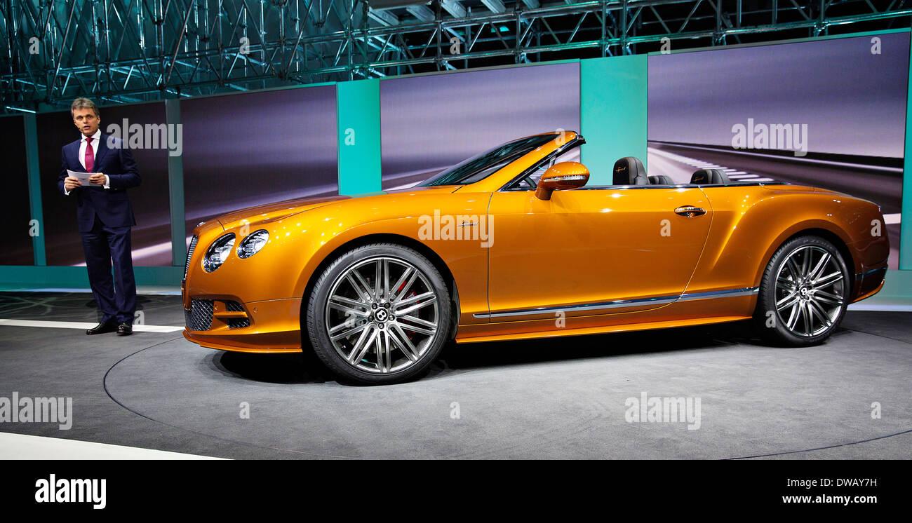 Woflgang Schreiber, Chairman and CEO Bentley Motors Ltd, Bentley Contonental GT Speed - Stock Image