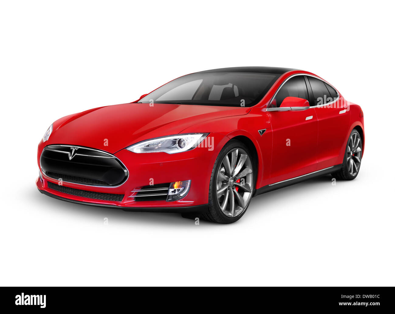 red 2014 tesla model s luxury electric car isolated on white stock photo 67239016 alamy. Black Bedroom Furniture Sets. Home Design Ideas
