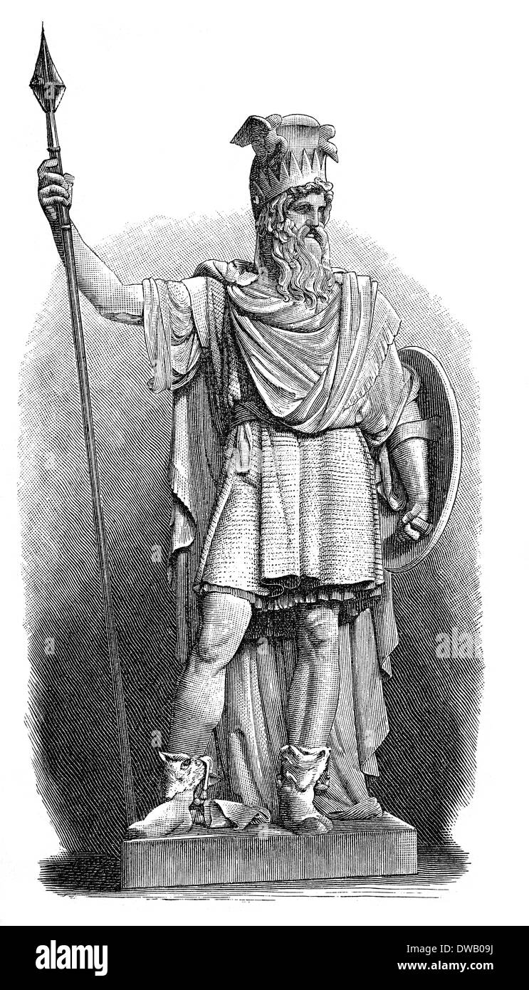 Historical illustration, 19th Century, Statue of Odin, the Allfather of the gods in Germanic and Norse mythology - Stock Image