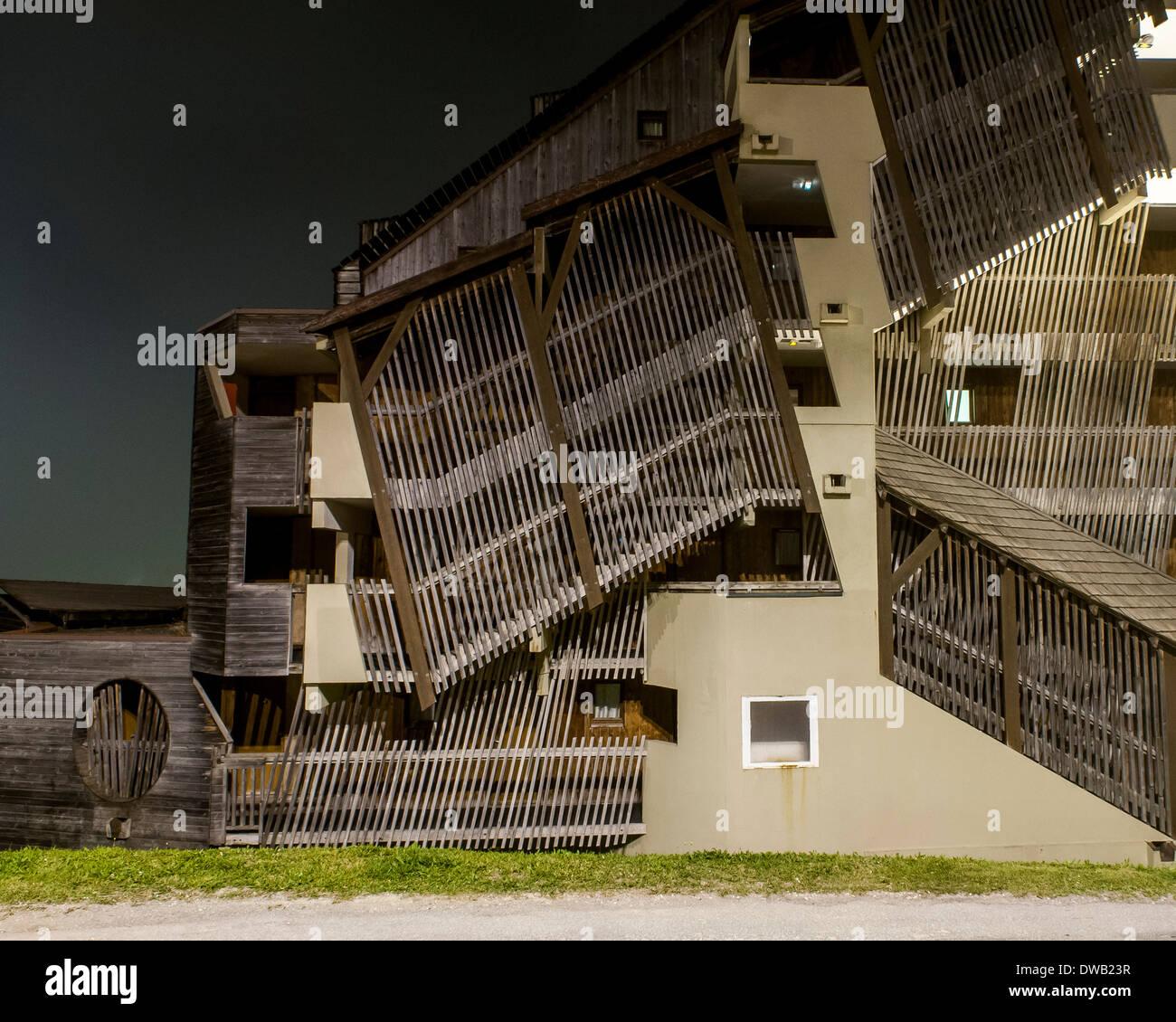 Avoriaz, Avoriaz, France. Architect: Jacques Labro, Simon Cloutier, Jean-Jacques Orzoni, 2014. Stock Photo