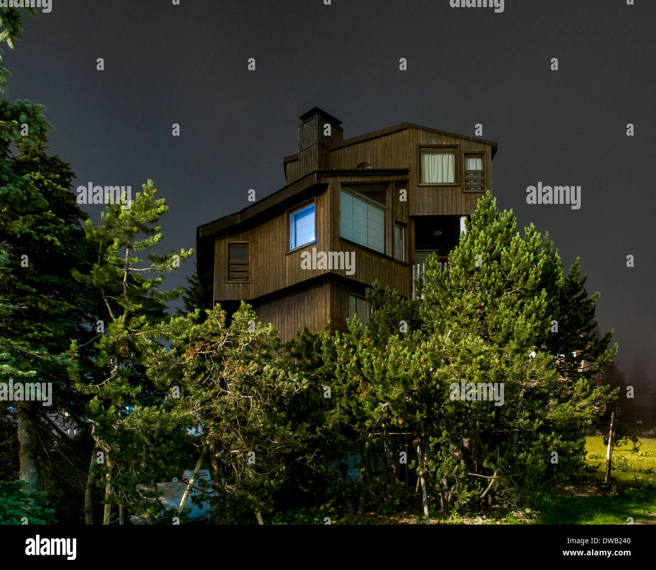 Avoriaz, Avoriaz, France. Architect: Jacques Labro, Simon Cloutier, Jean-Jacques Orzoni, 2014. CHALET GIVRINE (Summer). Stock Photo