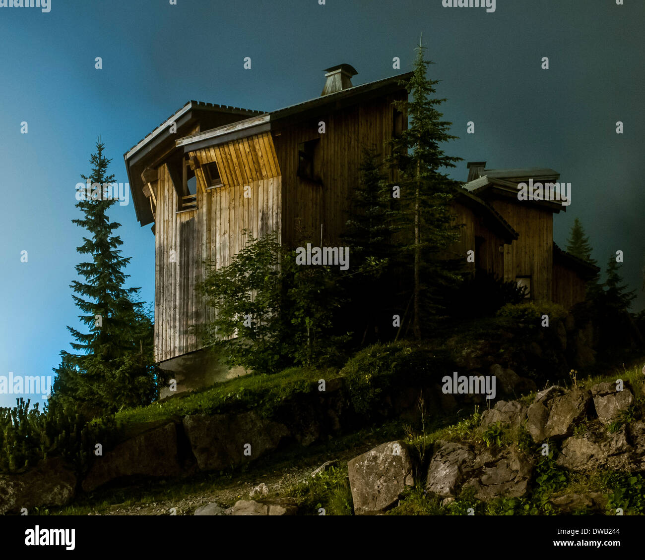 Avoriaz, Avoriaz, France. Architect: Jacques Labro, Simon Cloutier, Jean-Jacques Orzoni, 2014. Stock Photo