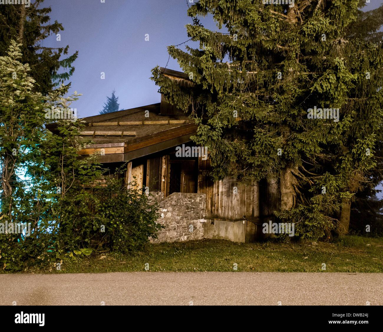 Avoriaz, Avoriaz, France. Architect: Jacques Labro, Simon Cloutier, Jean-Jacques Orzoni, 2014. Chalet (Summer). Stock Photo