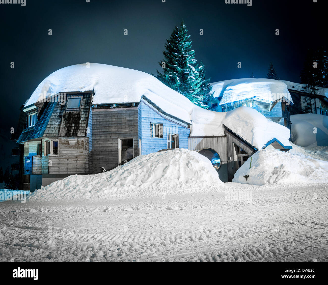 Avoriaz, Avoriaz, France. Architect: Jacques Labro, Simon Cloutier, Jean-Jacques Orzoni, 2014. Chalet (Winter). Stock Photo