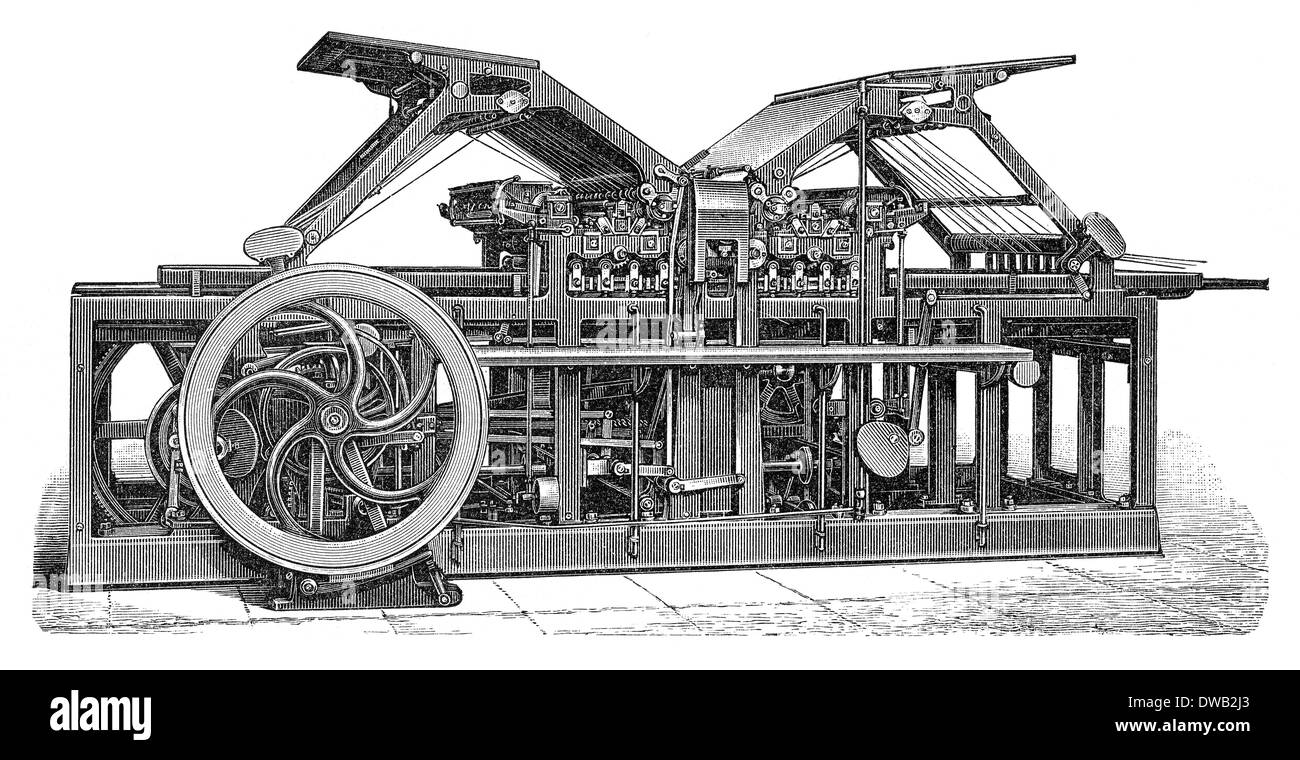 Historical Illustration 19th Century Industrial Printing Press
