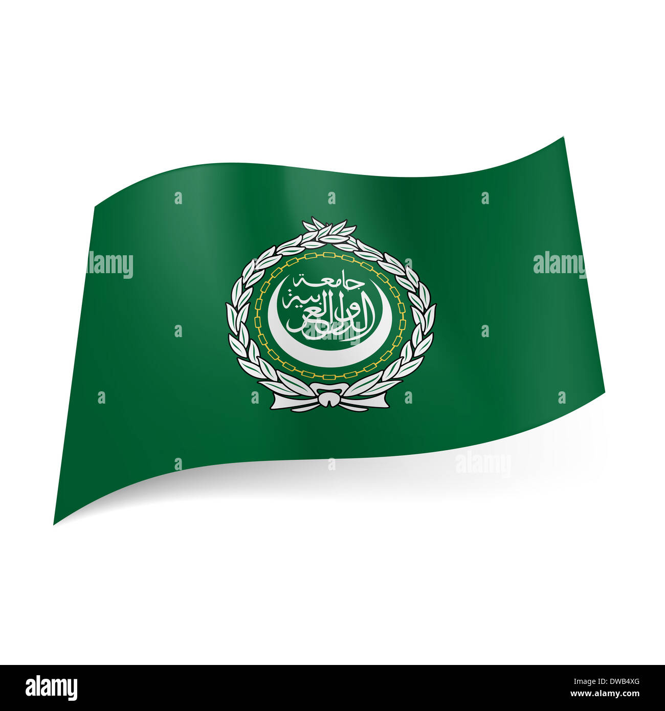 Flag of Arab League: seal on green background - Stock Image